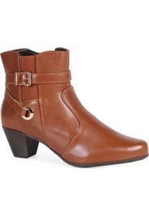 Ankle Boots Feminina Mooncity Elástico Marrom