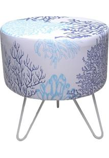 "Puff Redondo ""Coral""- Branco & Azul- 45Xø34Cmdecor Glass"
