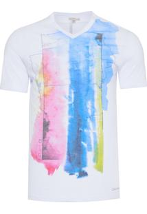 Camiseta Masculina Manga Curta Estampa Aquarelada - Branco