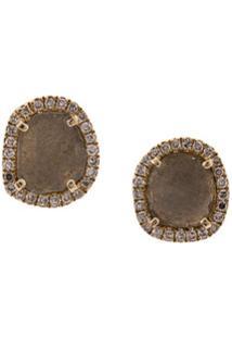 Zofia Day Par De Brincos De Ouro 14Kt Com Diamante 'Reflective Slice' - Dourado