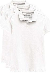 Kit De 3 Camisas Polo Femininas Branco