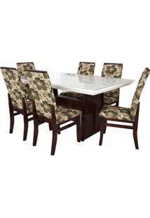 Jogo De Mesa Com Tampo Laqueado E 6 Cadeiras Veneza Floral Móveis Tradição