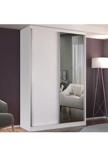 Guarda-Roupa Solteiro 2 Portas De Correr 1 Espelho 100% Mdf 8801E1 Branco - Foscarini