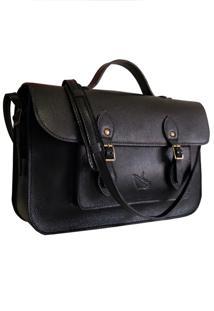 Bolsa Line Store Leather Satchel Média Couro Preto. - Kanui