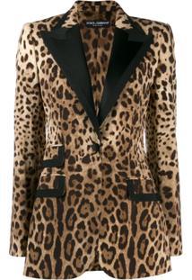 Dolce & Gabbana Animal Print Tuxedo Style Blazer - Marrom