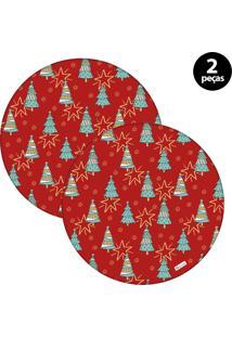Sousplat Mdecore Natal Arvores De Natal 32X32Cm Vermelho 2Pçs