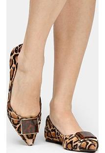 Sapatilha Couro Shoestock Fivela Onça Feminina - Feminino