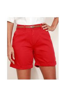 Bermuda De Sarja Feminina Cintura Alta Alfaiatada Com Cinto Vermelha