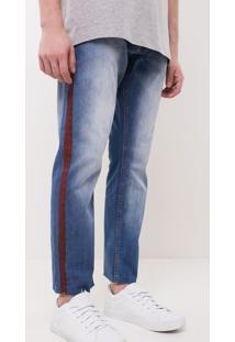 Calça Slim Com Faixa Lateral Em Jeans