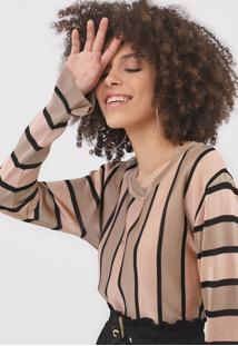 Blusa Maria Filó Listrada Bege/Rosa
