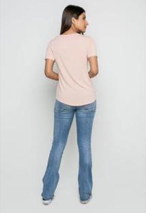 T-Shirt Rineli Ana Feminina - Feminino-Nude