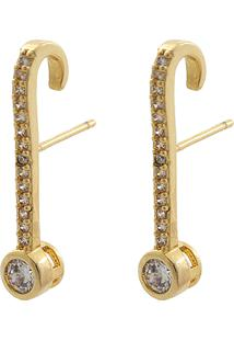 Brinco Narcizza Semijoias Ear Hook Com Bolinha E Micro Zircônia Cristal Ouro