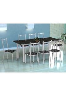 Conjunto De Mesa Cordoba Com 8 Cadeiras Lisboa Branco E Preto Floral