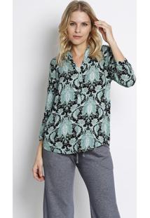 Camisa Arabescos- Preta & Verde Claro- Intensintens