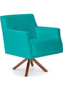 Poltrona Decorativa Para Sala De Estar Diva D02 Tress㪠Veludo Liso Turquesa B-66 - Lyam Decor - Azul - Dafiti