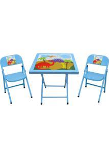 Conjunto Fantasia Mesa C/2 Cadeiras Azul/Dino Açomix