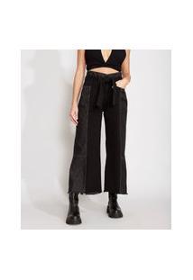Calça Wide Cropped Jeans Com Recortes E Faixa Para Amarrar Cintura Super Alta Preta