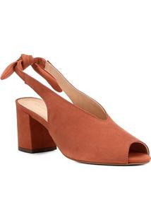 Sandália Couro Shoestock Salto Bloco High Vamp Feminina - Feminino-Marrom
