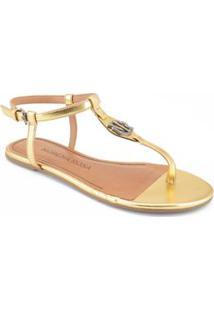 Sandalia Rasteira Enfeite Personalizado Dourado