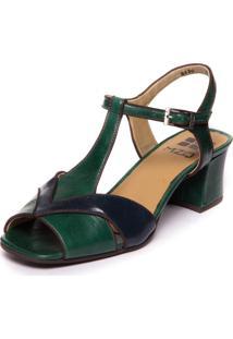 Sandalia Verde Brigitte Em Couro - Esmeralda / Passiflora / Cafe 5394 - Azul Marinho/Verde - Feminino - Dafiti
