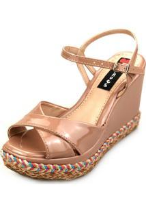 Sandália Love Shoes Alta Trança Corda Colorida Cruzada Verniz Nude
