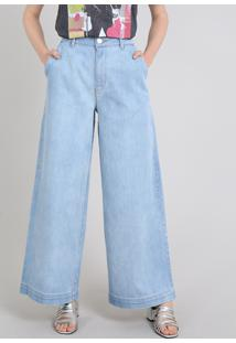 Calça Jeans Feminina Mindset Reta Alfaiatada Azul Claro