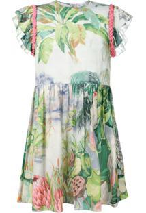 Redvalentino Vestido Com Estampa Floral E Detalhe Trançado Nos Ombros - Cinza