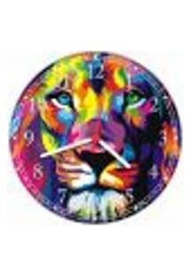 Relógio De Parede Abstrato Animais Leão Colorido Decorações Salas