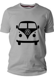 Camiseta Criativa Urbana Carro Antigo Clássico Kombi Manga Curta Cinza Mescla