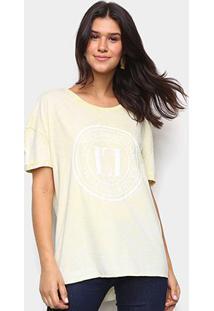 Camiseta Lança Perfume Básica Logo Feminina - Feminino-Amarelo Claro
