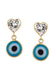Brinco Olho Grego Celeste Coração Em Ouro 18K - Unissex-Azul Claro