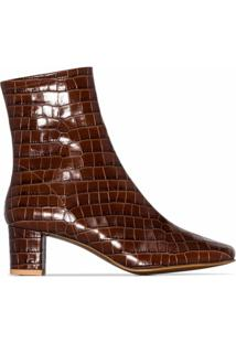 By Far Ankle Boot Com Efeito Croco 'Sofia 63' - Marrom