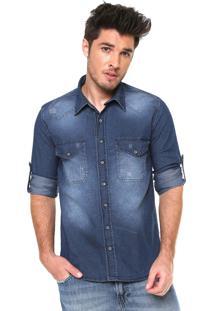 Camisa Jeans Zune Reta Estonada Azul
