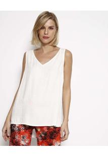 Blusa Lisa Com Fendas- Off Whitehering