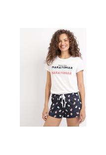 """Pijama Feminino Maratonar"""" Manga Curta Branca"""""""
