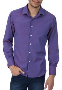 Camisa Social Upper Roxa Detalhada