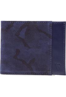 Carteira Masculina Padrão Camuflada - Azul