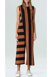 Macacao Unequal Stripe-Terra/Preto - P