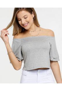 Blusa Feminina Cropped Ombro A Ombro Manga Curta