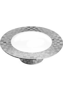 Prato Para Bolo Wolff Vera Silver Porcelana Branco/Prata Com Pé