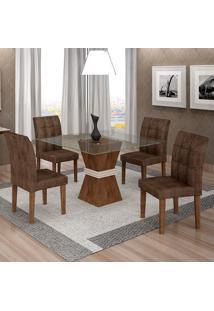 Conjunto De Mesa De Jantar Com 4 Cadeiras Vitória Veludo Chocolate E Marrom