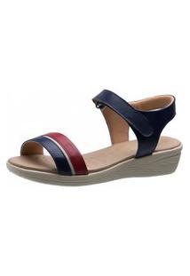 Sandália Anabela Esporão Doctor Shoes 180 Marinho/Vinho