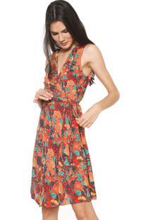 Vestido Cantão Curto Floral Vermelho