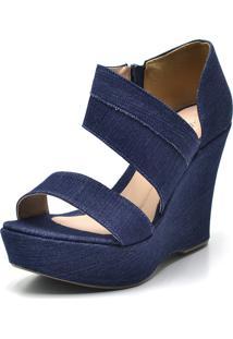 Sandália Flor Da Pele Plataforma Tiras Jeans