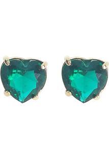 Brinco Kumbayá Coração Banho De Ouro 18K Cristal Verde Esmeralda