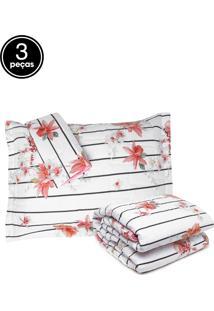 Kit 3Pçs Colcha Queen Altemburg Essence Porcelain Flowers 200 Fios Branco