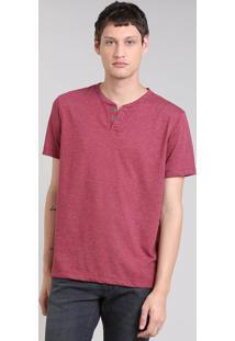 Camiseta Masculina Básica Manga Curta Gola Careca Com Botões Vinho
