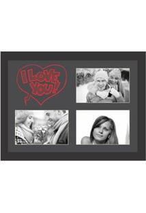 Painel De Fotos Kapos I Love You Para 3 Fotos 10X15Cm – Preto