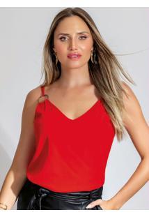 Blusa Alça Dupla Com Decote V Vermelho