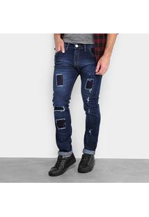 Calça Jeans Skinny Preston Rasgado Masculina - Masculino-Jeans
